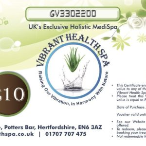£10 Gift Voucher at Vibrant Health Spa